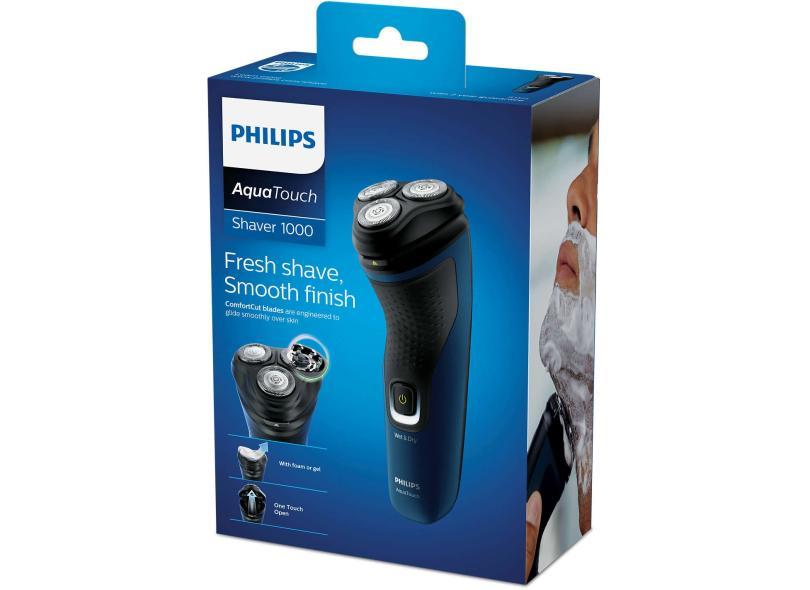 Barbeador Elétrico à Bateria recarregável e molhada Philips Shaver 1100 AquaTouch 1000