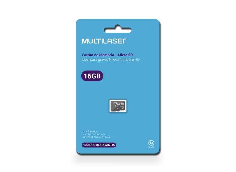 Cartão de Memória Micro SDHC Multilaser 16 GB MC143