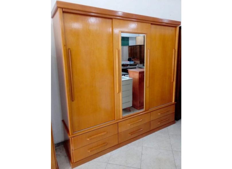 Guarda-Roupa Casal 3 Portas 6 Gavetas com Espelho Capadócia Jangada Móveis