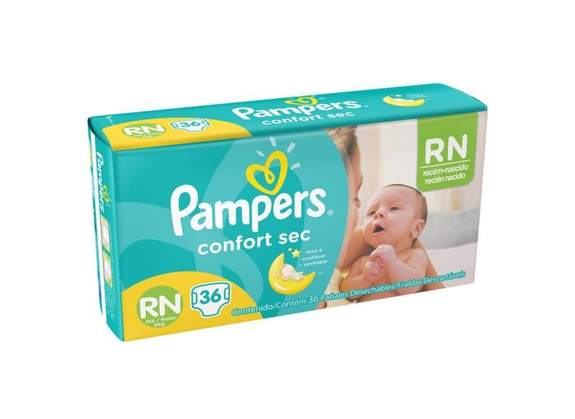 Fralda Pampers Confort Sec Recém Nascido (RN) 36 Und Até 6kg