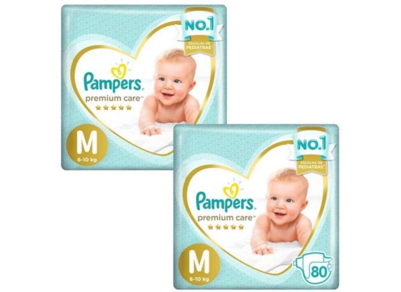 Fralda Pampers Premium Care Tamanho M 80 Unidades Peso Indicado 6 - 10kg