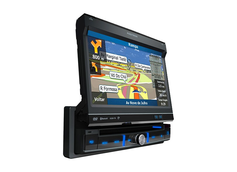 "DVD Player Automotivo Pósitron Tela TouchScreen 7 "" USB Bluetooth TV Digital SP6900 AV"