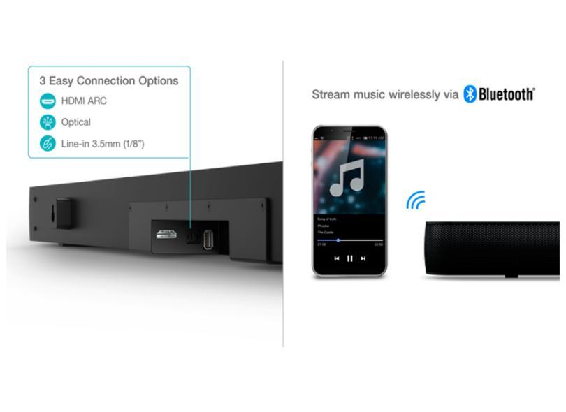 Home Theater Soundbar TCL 320 W 2.1 Canais 1 HDMI TS7010