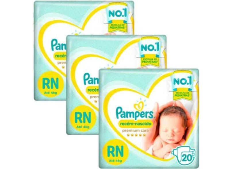 Fralda Pampers Premium care Recém Nascido (RN) 20 Und Até 4kg