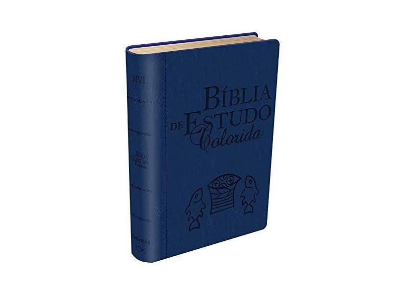 Bíblia de Estudo Colorida - Letra Grande - Capa Azul - Bv Books - 9788581580920