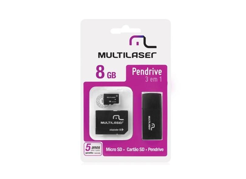Cartão de Memória Micro SD com Adaptador Multilaser 8 GB MC058