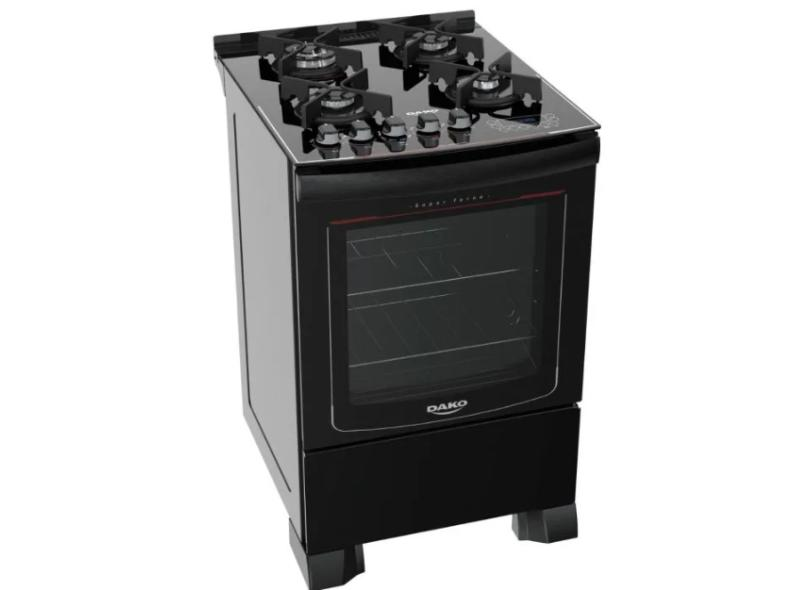 Fogão de Piso Dako 4 Bocas Acendimento Superautomático Grill Turbo Glass
