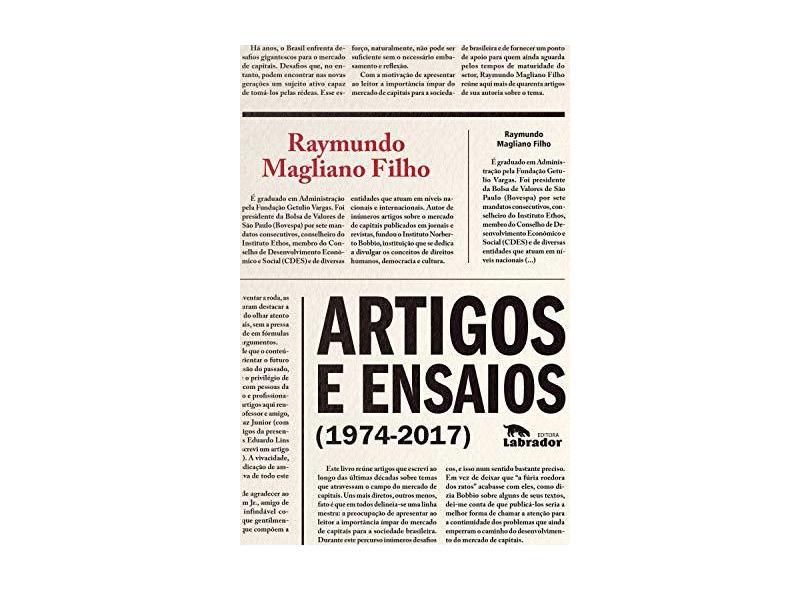 Artigos e Ensaios. 1974-2017 - Raymundo Magliano Filho - 9788587740182