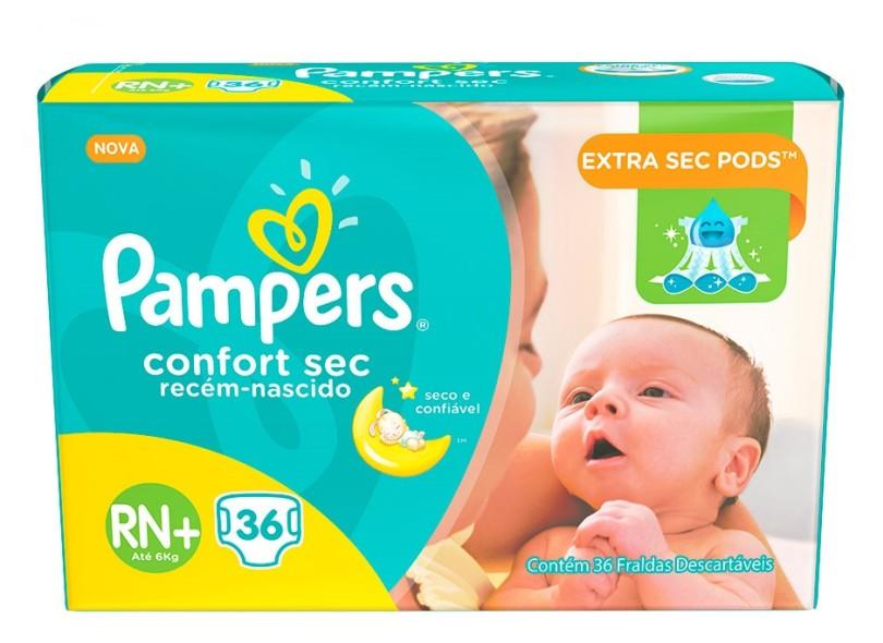 Fralda Pampers Confort Sec RN Plus Recém Nascido (RN) 36 Und Até 6kg