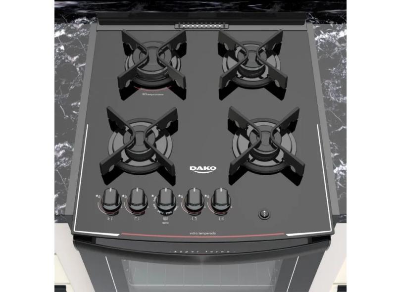 Fogão de Embutir Dako 4 Bocas Acendimento Automático Dako Glass