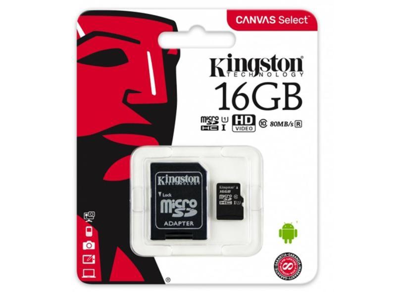 Cartão de Memória Micro SDHC com Adaptador Kingston Canvas Select 16 GB SDCS/16GB
