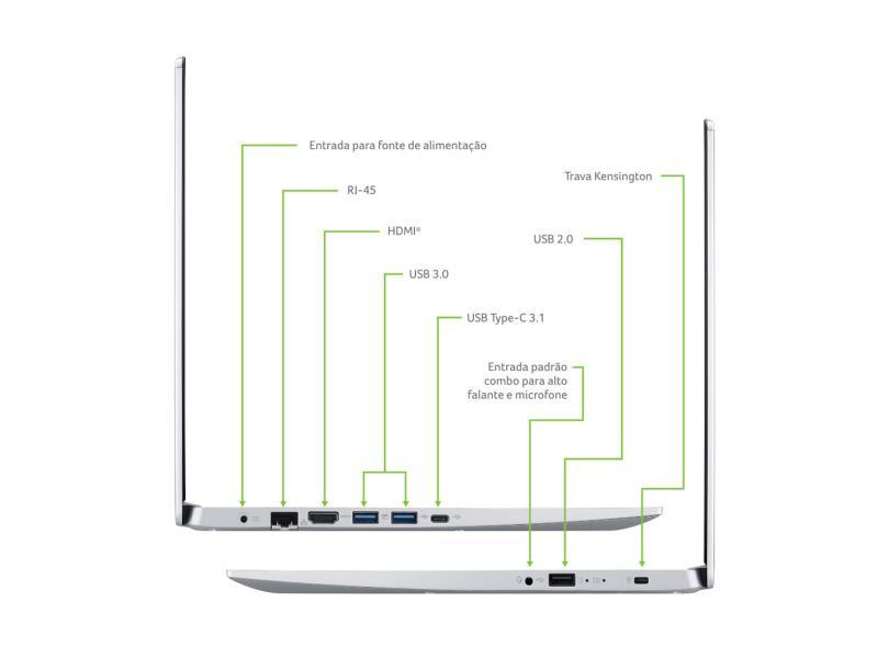"""Notebook Acer Aspire 5 Intel Core i5 1035G1 10ª Geração 8 GB de RAM 128.0 GB 15.6 """" Windows 10 A515-55-50MZ"""