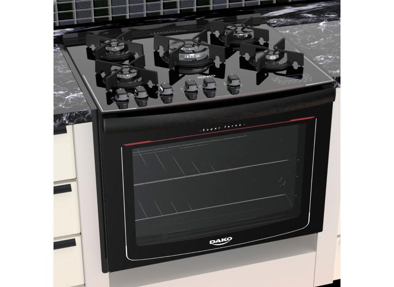 Fogão de Embutir Dako 5 Bocas Acendimento Superautomático Grill Turbo Glass DE5VT-PF0