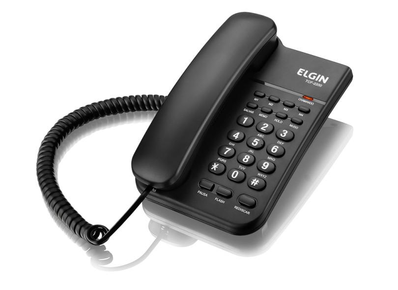 Telefone com Fio Elgin TCF 2200 com Chave de Bloqueio