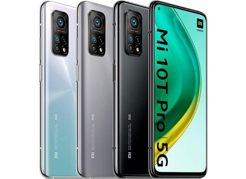 Smartphone Xiaomi Mi 10T Pro 5G 8GB RAM 8 GB 128GB Câmera Tripla Qualcomm Snapdragon 865 2 Chips Android 10