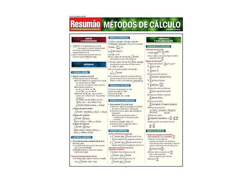 Resumão Métodos de Cálculo - Exatas 10 - Girólamo, Mônica Koehler Sant'ana - 9788577110063