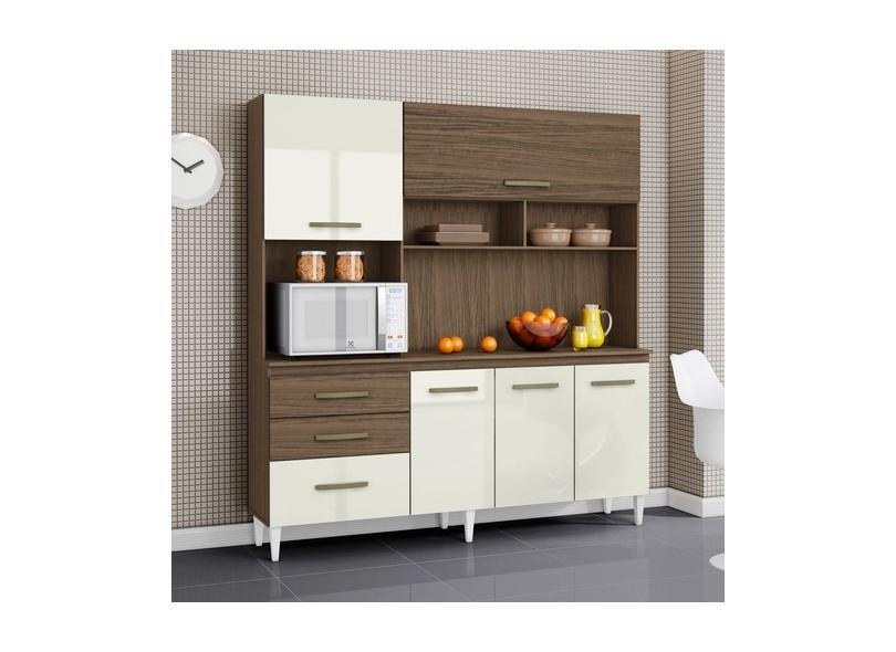 Cozinha Compacta 3 Gavetas 5 Portas para Micro-ondas / Forno Lory Aramóveis