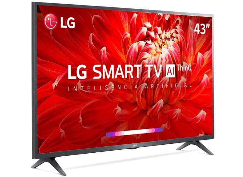 "Smart TV TV LCD 43"" LG ThinQ AI Full HD 43LM6370PSB 3 HDMI"