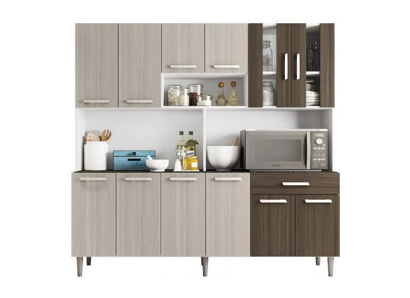 Cozinha Compacta 1 Gaveta 12 Portas Clara Poliman Móveis