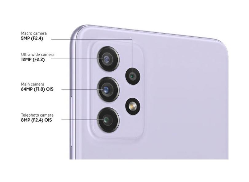 Smartphone Samsung Galaxy A72 SM-A725M 6 GB 128GB Câmera Quádrupla Qualcomm Snapdragon 720G 2 Chips Android 11
