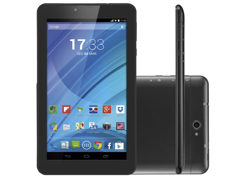 """Tablet Multilaser M7 3G 8GB LCD 7"""" Android 4.4 (Kit Kat) 2 MP NB223"""