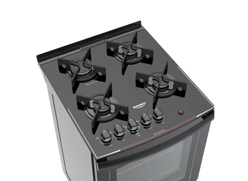 Fogão de Piso Dako 4 Bocas Acendimento Automático Dako Glass DP4VU-PF0