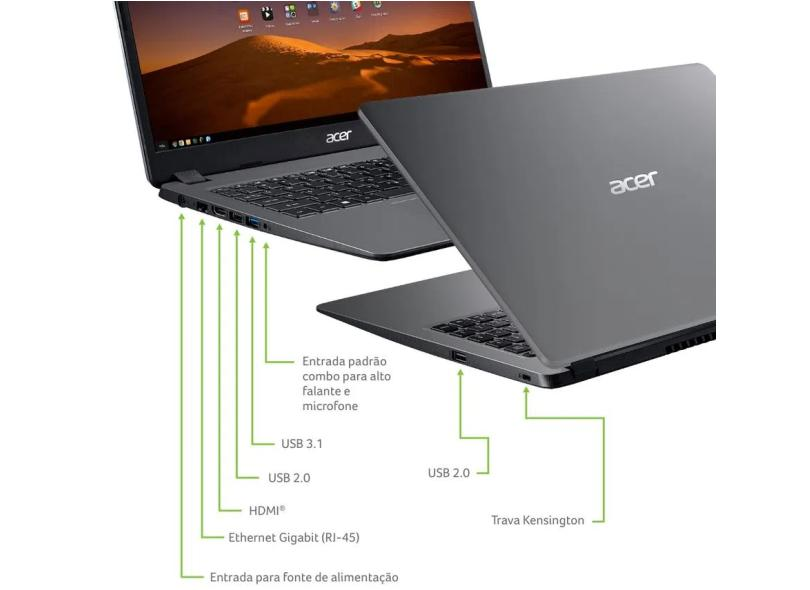 """Notebook Acer Aspire 3 Intel Core i5 1035G1 10ª Geração 4GB de RAM SSD 256 GB 15,6"""" Linux A315-56-569F"""