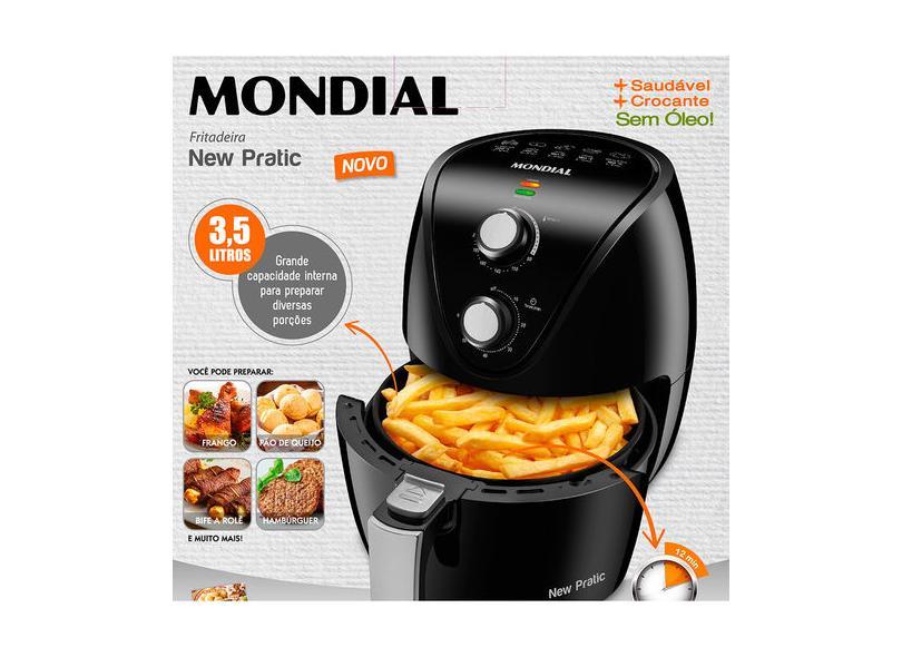 Fritadeira Elétrica Sem óleo Mondial New Pratic AF-31 3.5 l
