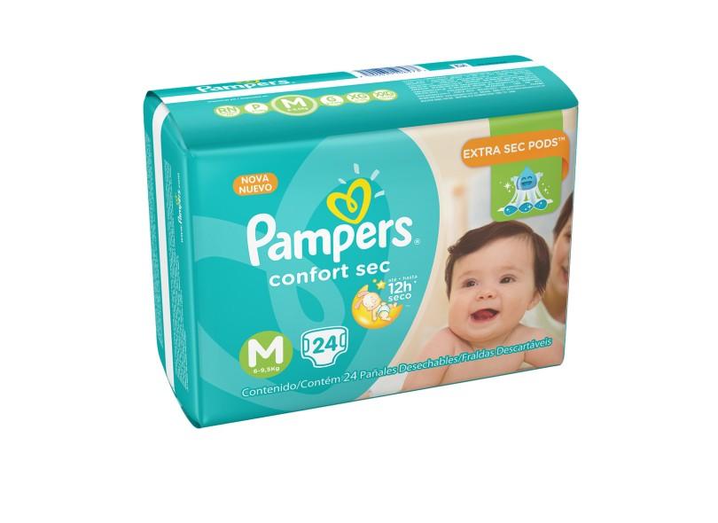Fralda Pampers Confort Sec M 24 Und 6 - 9,5kg