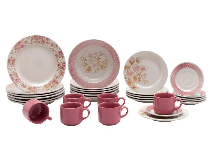 Aparelho de Jantar Redondo de Cerâmica 30 peças - Donna AE30-5160 Biona