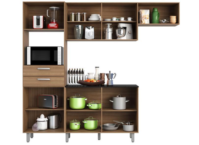 Cozinha Completa 2 Gavetas 7 Portas para Micro-ondas / Forno Lia Poliman Móveis