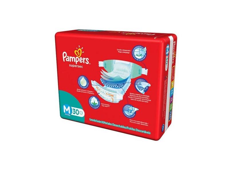 Fralda Pampers Supersec M Econômica 30 Und 6 - 9,5kg