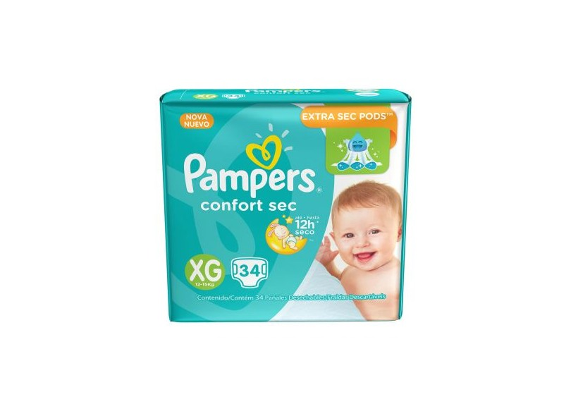 Fralda Pampers Confort Sec XG 34 Und 12 - 15kg
