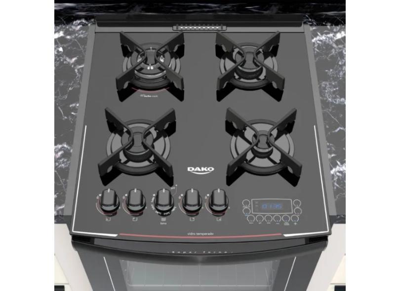 Fogão de Embutir Dako 4 Bocas Acendimento Superautomático Grill Turbo Glass