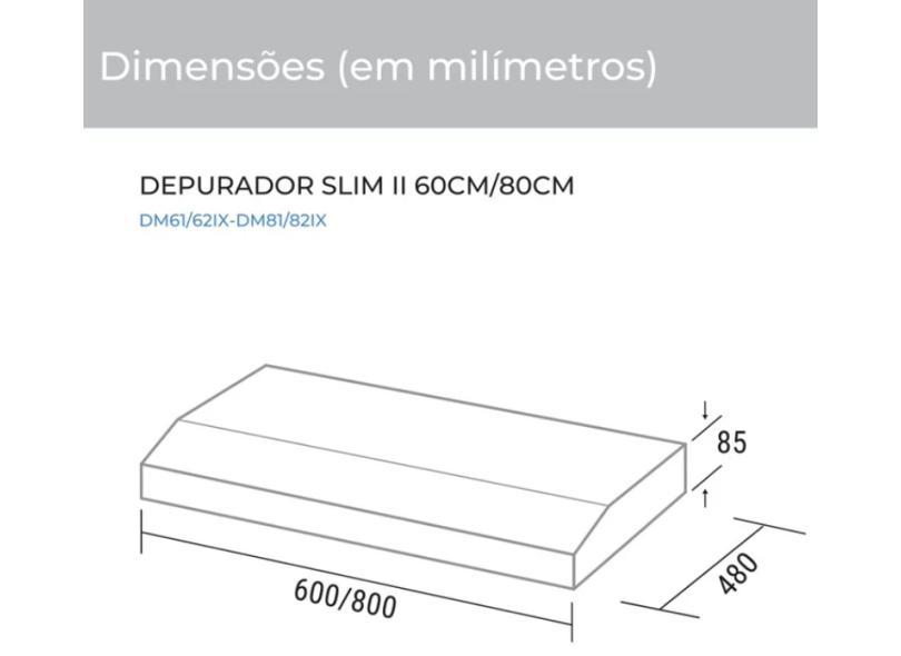 Depurador de Ar Parede Suggar 60 cm Novo Slim II Inox