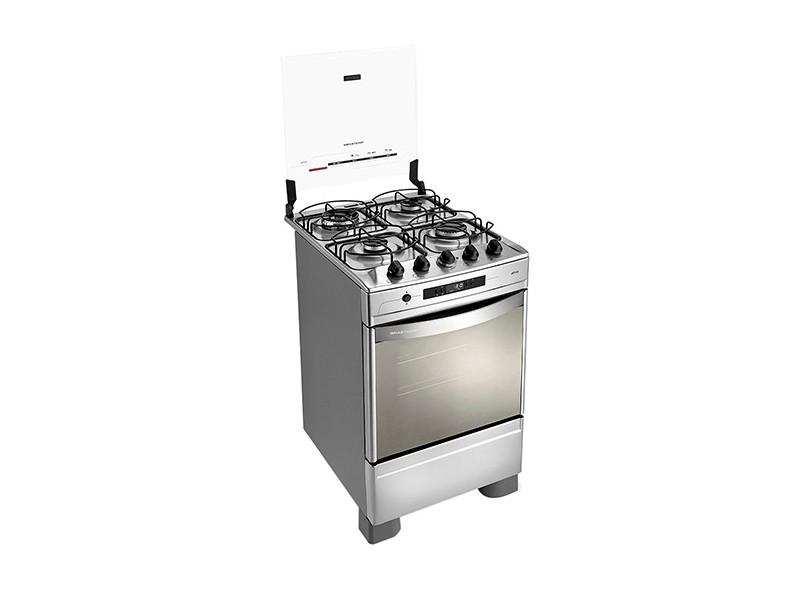 Fogão de Piso Brastemp Ative Timer Grill 4 Bocas Acendimento Automático Acabamento Inox Grill BF150AR