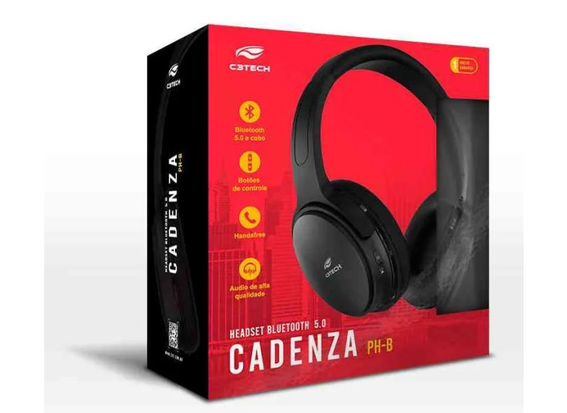 Headset Bluetooth com Microfone C3 Tech Cadenza PH-B500