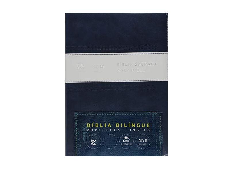 Bíblia Sagrada Nvi – Português e Inglês - Azul e Branco - Editora Vida - 9788000002958