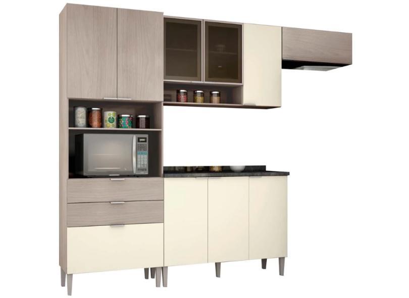 Cozinha Completa 2 Gavetas 10 Portas para Micro-ondas / Forno com vidro Turmalina Bartira