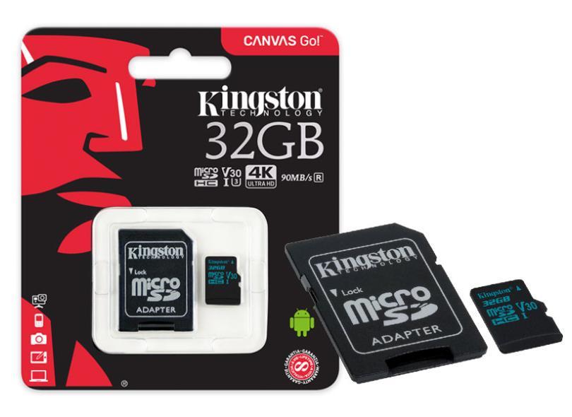 Cartão de Memória Micro SDHC com Adaptador Kingston Canvas Go 32 GB SDCG2/32GB