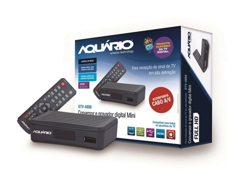Conversor Digital Full HD HDMI USB DTV-4000 Aquário