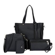 Imagem de Youngy Conjunto de 4 peças feminino fashion bolsa de mão bolsa de ombro bolsa bolsa mensageiro -
