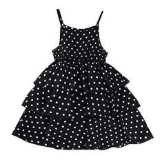 Imagem de Vestido infantil para meninas de 4 a 10 anos com estampa de bolinhas e rugas, , 8-9 anos