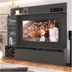 """Imagem de Painel Home para Tv 60"""" com 3 Portas Grafite  Lilies Móveis"""