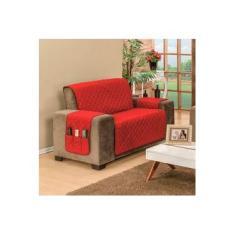 Protetor Para Sofá De 02 Lugares King Com Assento de 1,20M Dupla Face Manu - Vermelho Com Preto