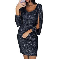 Imagem de Newooh Vestido feminino com borlas e decote em V sexy com lantejoulas e franjas, vestido de festa e manga comprida, , P