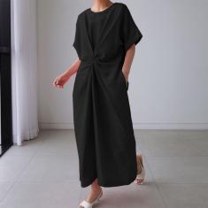 Imagem de Zanzea Mulheres Kaftan Caftan Vestido Longo Camisa Casual Solto Gola Redonda Simples Maxi T-Shirt Vestido de Verão  3XL