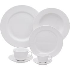 Aparelho de Jantar Redondo de Porcelana 30 peças - Flamingo White Oxford Porcelanas