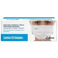 Imagem de Máscara Cirúrgica Tripla Descartável com Filtro Antiviral com Clipe Nasal com Elástico