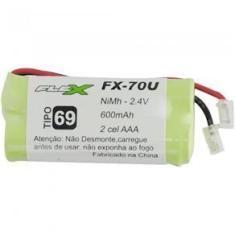 Bateria Para Telefone Sem Fio Com 2 Aaa 2,4V 600Mah Universal Fx-70U Flex